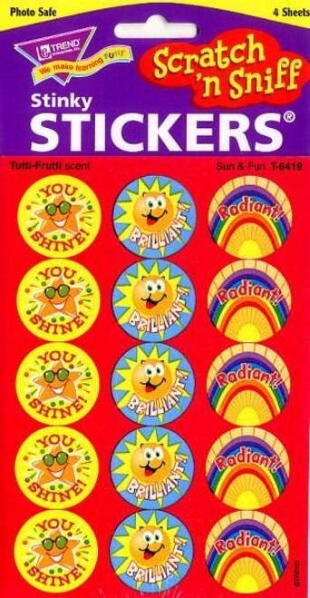 Trend Enterprises Inc 60 TREND Sun and Fun Tutti-Frutti Scratch n Sniff Reward Stickers