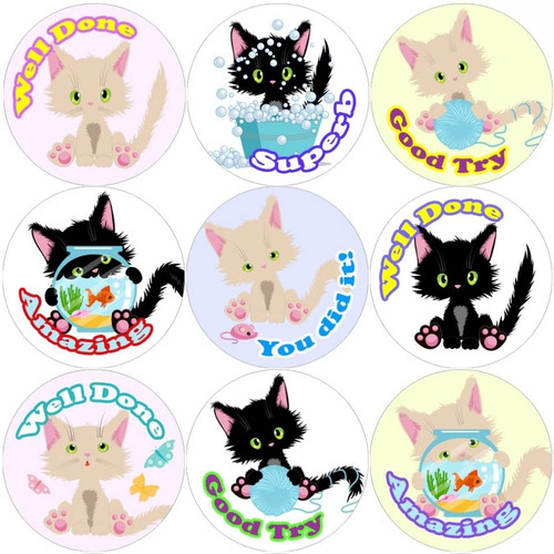 Sticker Stocker 144 Cute Cats Praise Words 30mm Childrens Reward Stickers for Teachers or Parents