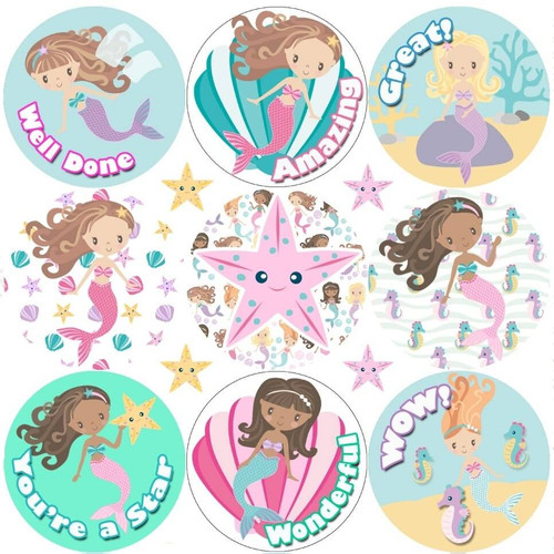 Sticker Stocker 234 Mermaid Praise Words 30mm Reward Stickers for School Teachers, Parents and Nursery