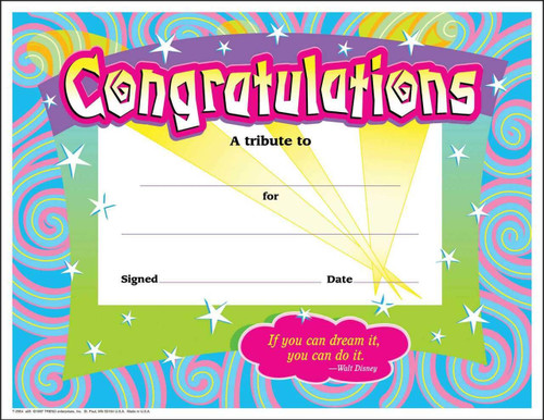 Trend Enterprises Inc 30 Congratulations Awards Large Swirl Certificate pack