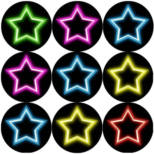 Sticker Stocker 144 Neon Stars 30mm Round Childrens Reward Stickers for Teachers, Parents and Party Bags