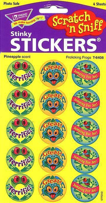 Trend Enterprises Inc 60 TREND Frolicking Frogs Pineapple Scratch n Sniff Stickers