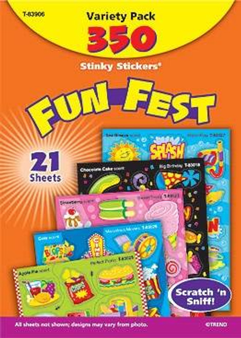 Trend Enterprises Inc 350 Fun Fest Variety Pack Scratch and Sniff Stinky Stickers