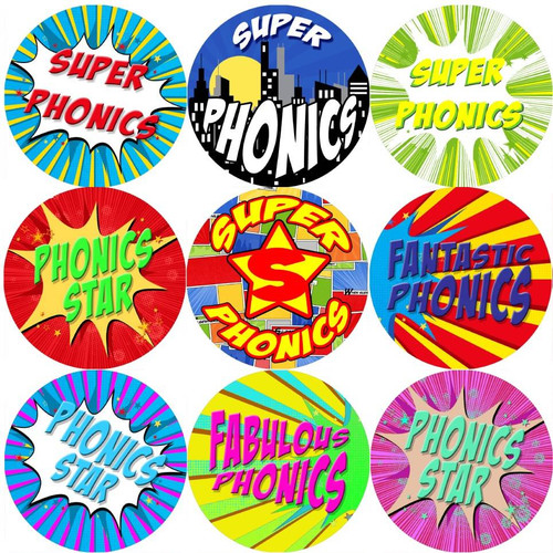 Sticker Stocker 144 Superhero Phonics 30 mm Reward Stickers for School Teachers, Parents and Nursery