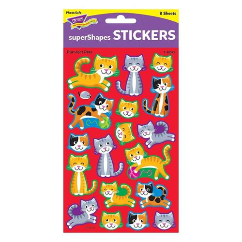 Trend Enterprises Inc 144 Purr-fect Pets Cute Cats Kittens Reward Stickers - SuperShapes ideal for Teachers