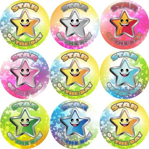 Sticker Stocker 144 Star of the day 30mm Stickers for School Teachers, Parents and Party Bags