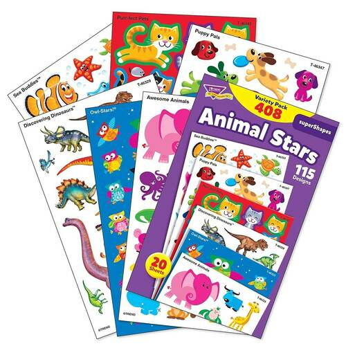 Trend Enterprises Inc 408 Animal Stars superShapes Reward Stickers, Owls, Dinosaurs, Cats, Dogs, Sea Creatures