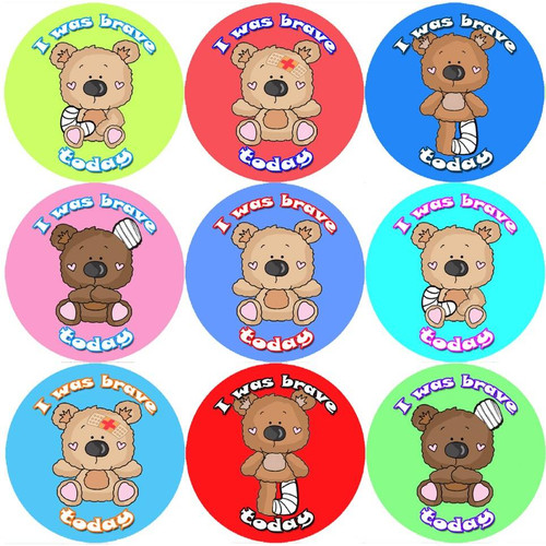 Sticker Stocker 144 I Was Brave Teddy 30mm Childrens Bravery Reward Stickers for Teachers or Nurses