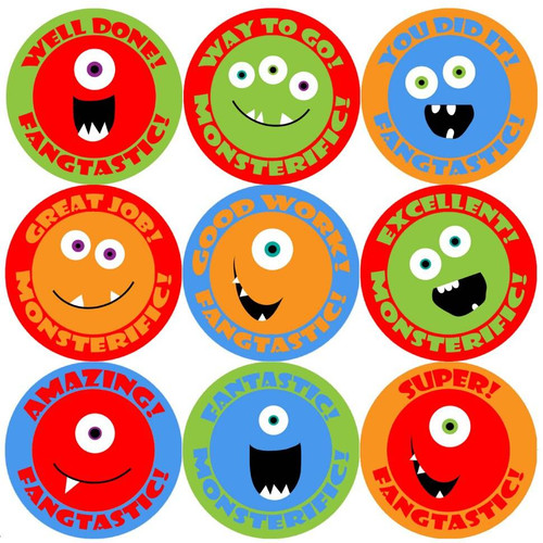 Sticker Stocker 144 Monster Smiles Praise Words 30mm Childrens Reward Stickers for Teachers or Parents