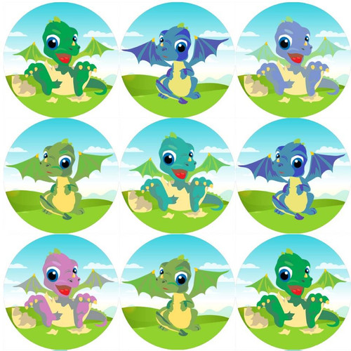 Sticker Stocker 144 Baby Dragons 30 mm Reward Stickers for School Teachers, Parents and Nursery
