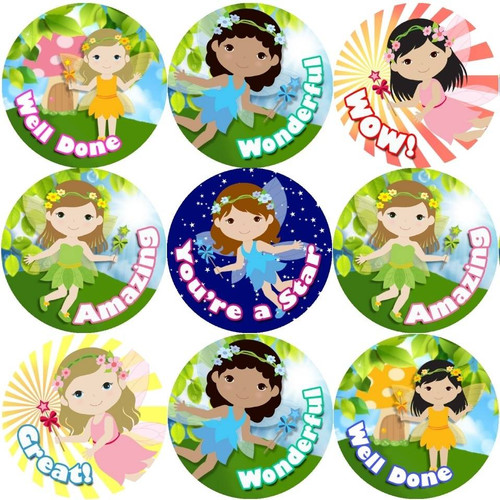 Sticker Stocker 144 Little Fairies Praise Words 30mm Stickers for Teachers, Parents and Party Bags