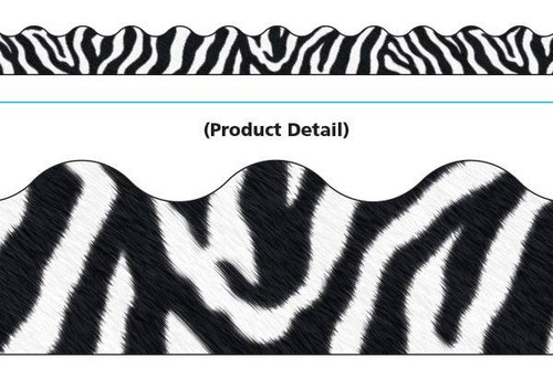 Trend Enterprises Inc Classroom Trimmers Notice Board Display Borders - Zebra White