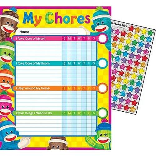 Trend Enterprises Inc 25 Sock Monkeys Chore Reward Charts and 100 Reward Stickers