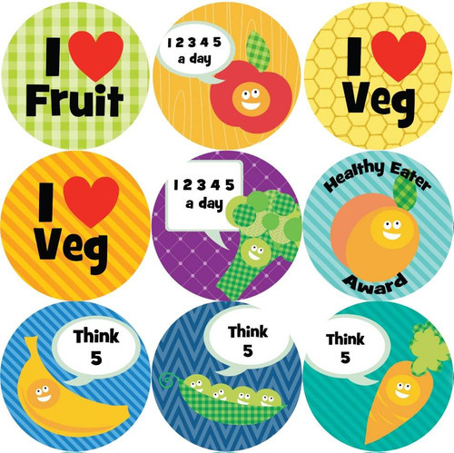Sticker Stocker 144 5 A Day 30mm Childrens Clean Plate Reward Stickers for Teachers or Parents