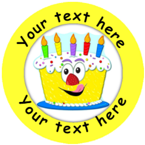 Sticker Stocker 144 Personalised Birthday Cake 30mm Reward Stickers for School Teachers, Parents and Nursery