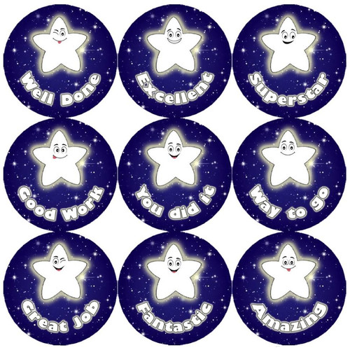 Sticker Stocker 144 Night Star Praise Words 30mm Childrens Reward Stickers for Teachers or Parents