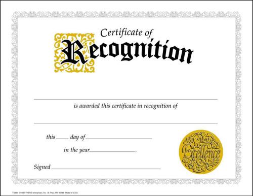 Trend Enterprises Inc 30 Certificates of Recognition Awards Large Certificate pack