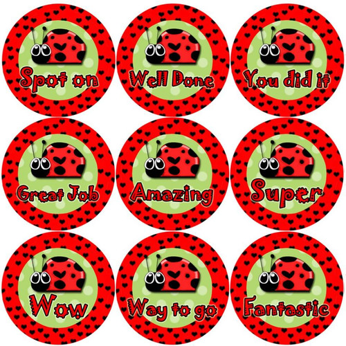 Sticker Stocker 144 Lovely Ladybirds 30mm Round Childrens Bug Reward Stickers - Teachers or Parents