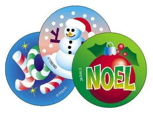 Trend Enterprises Inc 60 Christmas Peppermint Scratch n Sniff Reward Stickers