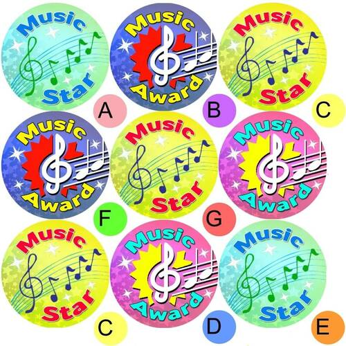 Sticker Stocker 234 Music Awards 30mm Reward Stickers for School Teachers, Parents and Nursery