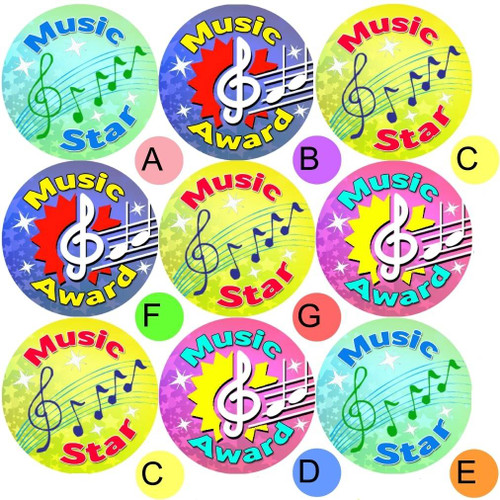 Sticker Stocker 234 Music Awards 30mm Reward Stickers for School Teachers, Parents and Nursery