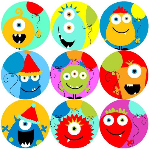 Sticker Stocker 144 Happy Birthday Monsters 30mm Reward Stickers for Teachers, Parents and Party Bags