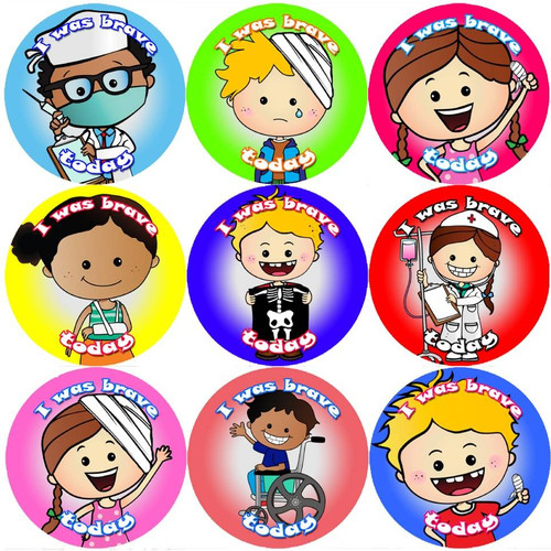 Sticker Stocker 144 I Was Brave Today 30mm Childrens Bravery Reward Stickers for Teachers or Nurses