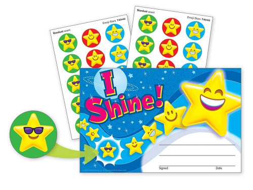 Trend Enterprises Inc I Shine Emojis Recognition Awards and Matching Scented Star Smiles Stickers