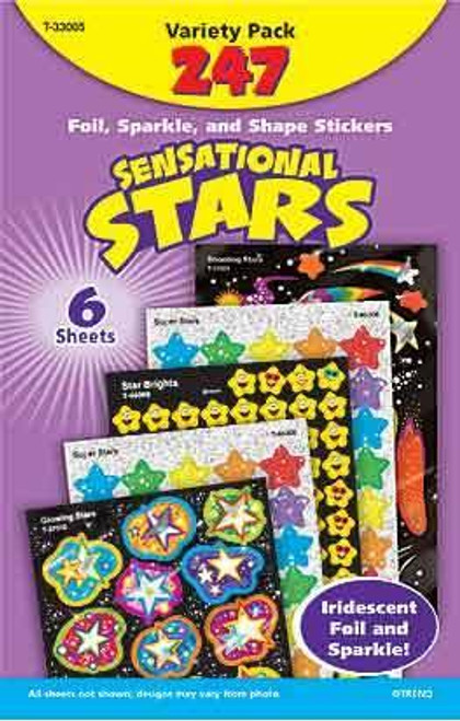 Trend Enterprises Inc 247 Sensational Stars foil and sparkle Reward Sticker Variety Pack