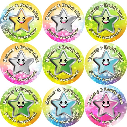 Sticker Stocker 144 Mummy and Daddys Superstar 30mm Reward Stickers for School Teachers, Parents and Nursery