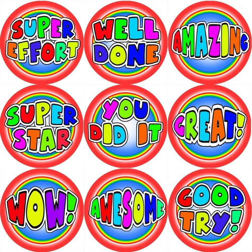 Sticker Stocker 144 Colourful Praise Words 30mm Stickers for Teachers, Parents and Party Bags