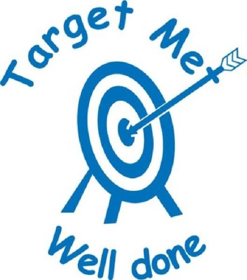 XStamper Target Met Well Done - Self inking teacher reward xstamper xclamations stamp