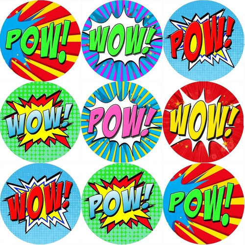 Sticker Stocker 144 POW WOW Superhero 30mm Reward Stickers for Teachers, Parents and Party Bags