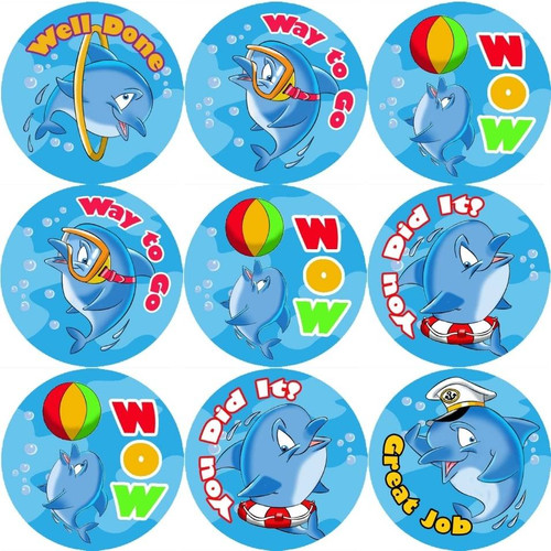 Sticker Stocker 144 Dolphin 30mm Reward Stickers for Teachers, Parents and Party Bags
