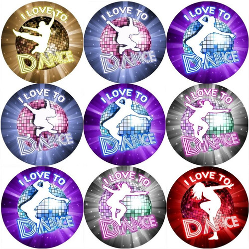 Sticker Stocker 144 I Love to Dance 30mm Reward Stickers for Teachers, Parents and Party Bags