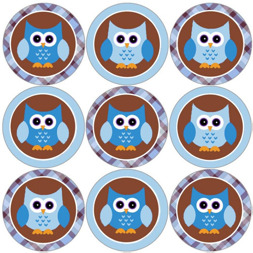 Sticker Stocker 144 Blue Owl 30mm Round Childrens Reward Stickers for Teachers, Parents and Party Bags