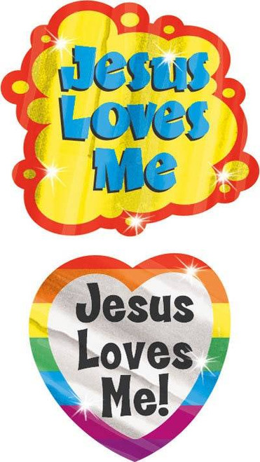 Trend Enterprises Inc Jesus Loves Me 34 Christian Foil Bright Stickers
