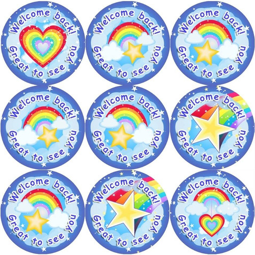 Sticker Stocker 144 Welcome Back Rainbows 30mm Stickers for Teachers, Parents and Party Bags