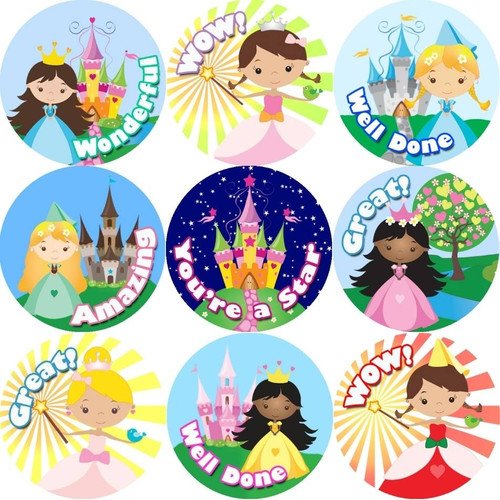 Sticker Stocker 144 Princess Praise Words 30mm Stickers for Teachers, Parents and Party Bags