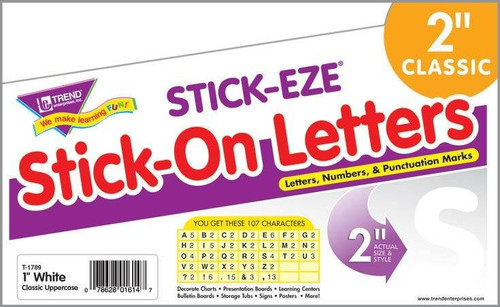 Trend Enterprises Inc 107 White 2-Inch Stick on alphabet Letters STICK-EZE Stickers