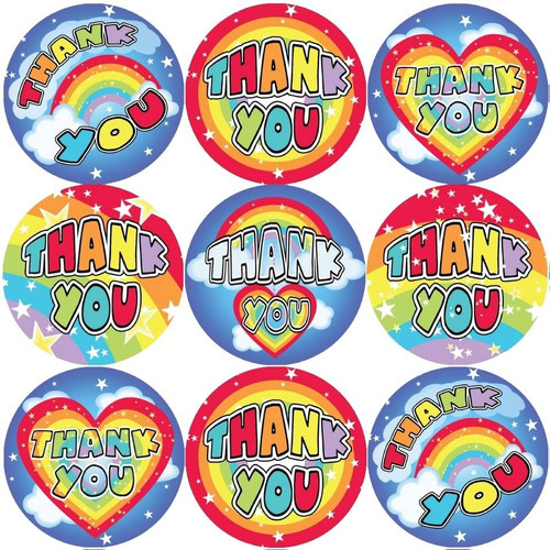 Sticker Stocker 144 Thank You Rainbows 30mm Stickers for Teachers, Parents and Party Bags
