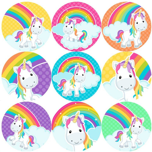 Sticker Stocker 144 Rainbow Unicorns 30 mm Reward Stickers for School Teachers, Parents and Nursery