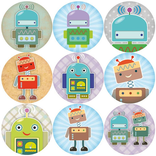 Sticker Stocker 144 Robots 30 mm Reward Stickers for Teachers, Parents and Party Bags