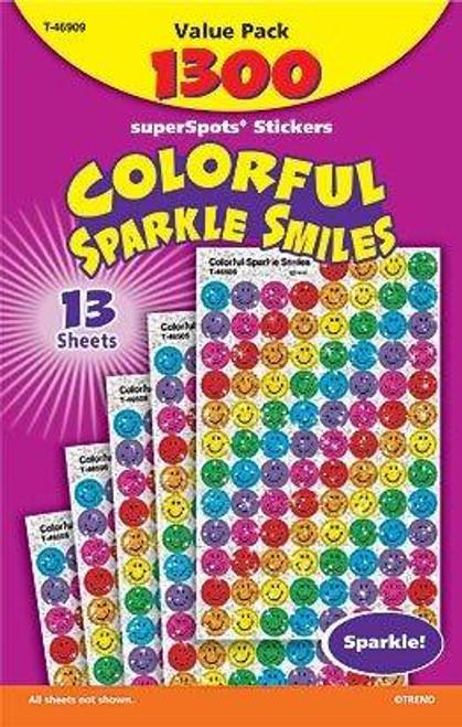 Trend Enterprises Inc 1300 Colourful Sparkle Smiles superSpots reward stickers