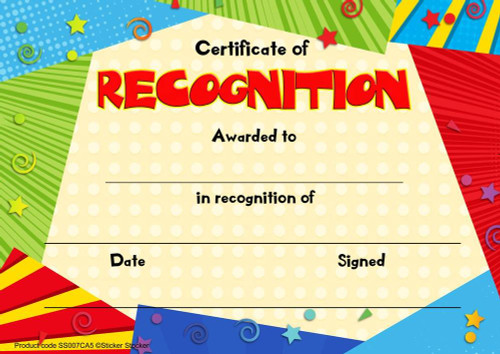 Sticker Stocker 30 Recognition award certificates for school teachers, 250gsm A5 silk finish card