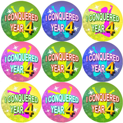Sticker Stocker 144 I Conquered Year 4 - End of Term Year 3rd grade Teacher Reward Stickers Size 30 mm