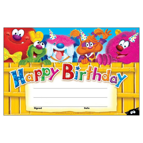 Trend Enterprises Inc 30 Happy Birthday Furry Friends certificates School teacher recognition awards
