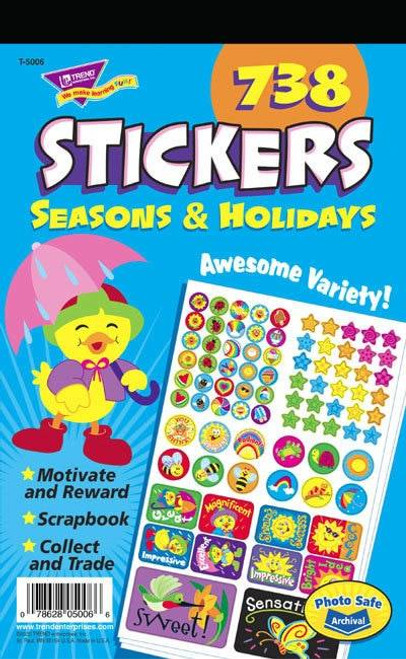 Trend Enterprises Inc 738 Seasons and Holidays Teacher Sticker Pad