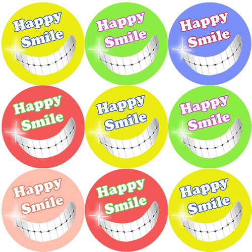 Sticker Stocker 144 Happy Smile 30mm Reward Stickers for Teachers, Parents Dentist and Party Bags