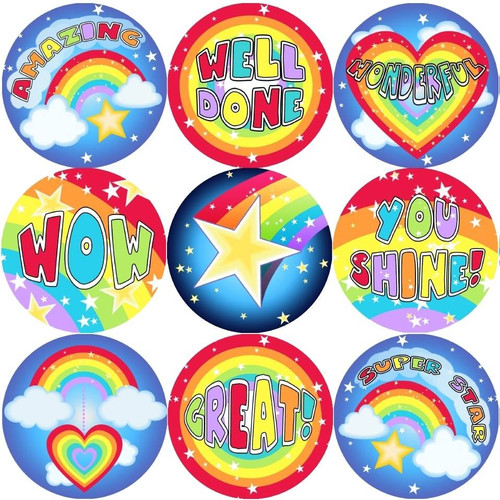 Sticker Stocker 144 Rainbows and Stars 30mm Stickers for Teachers, Parents and Party Bags